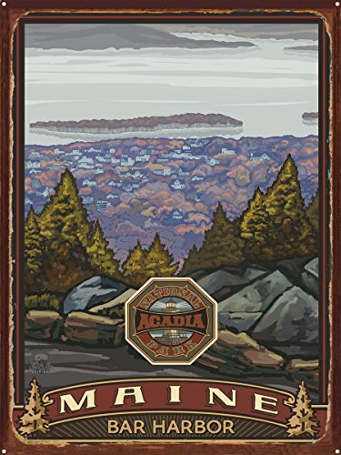 Acadia National Park Bar Harbor Rustic Metal Art Print by Paul A. Lanquist (18
