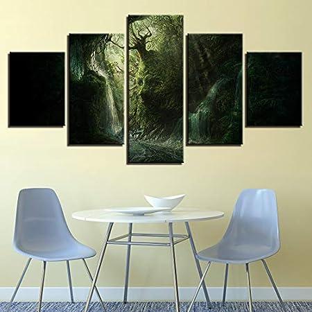 KANGZEDT Pintura sobre lienzo - 5 piezas 200*100CM Paisaje de árbol de forma abstracta cara Cuadro sobre Lienzo - Modernos Mural - Impresión en Lienzo - Listo para Colgar - decoración del hogar Arte