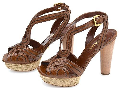 Prada Sandalia de Tacón Para Mujer Cuero Palisandro Marrón Art. 1XP162 36 Marrone Palissandro - Rosewood Brown