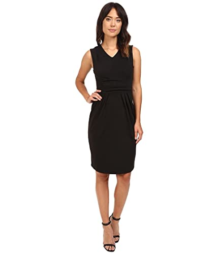 Christin Michaels Women's Kassandra V-Neck Ponte Dress with Cinched Waist