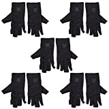Forfar 5 pairs Arthritis Copper Fibers Gloves Hands Protection Circulation Therapeutic Compression Unisex Black
