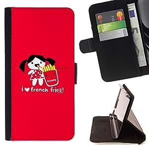 BullDog Case - FOR/Sony Xperia Z1 Compact D5503 / - / love funny junk food cartoon red heart /- Monedero de cuero de la PU Llevar cubierta de la caja con el ID Credit Card Slots Flip funda de cuer