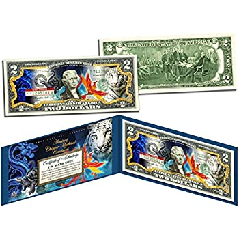 $2 Bill Banknote Currency COA Folio GREAT WHITE SHARK Genuine Legal Tender U.S