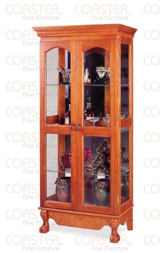 Coaster Queen Anne Style Double Door Curio China Cabinet, Solid Oak (Style Solid Wood China Cabinet)
