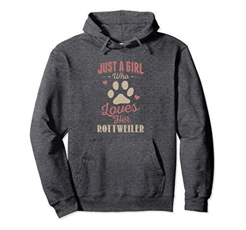 - Unisex Just A Girl Who Loves Her Rottweiler Hoodie Dog Lover Gift 2XL Dark Heather