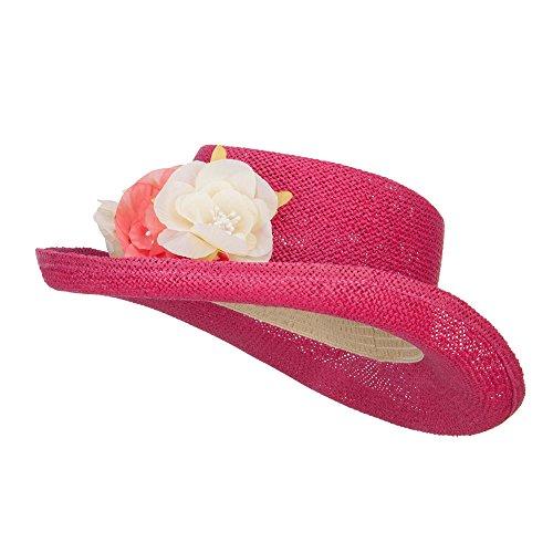Flower Trim Straw Gambler Hat - Fuchsia OSFM