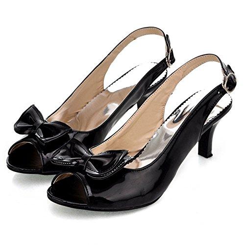 TAOFFEN Mujer Moda Mini Tacon Slingback Sandalias Tacon Medio Zapatos con Bowknot Negro