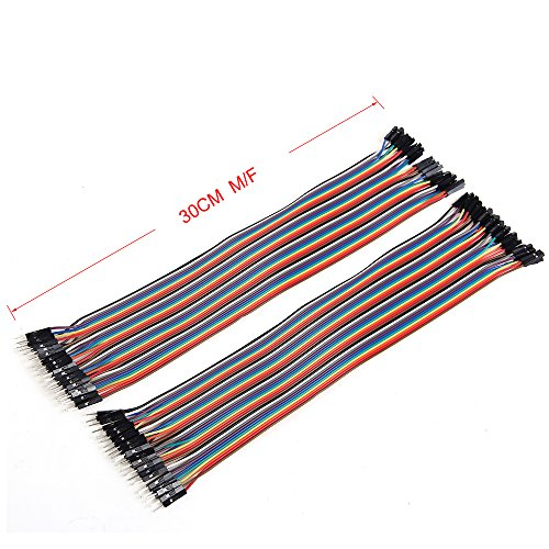 30CM M/F Breadboard Jumper Wires Kit,80 Pin Male to Female Ribbon Cables(2 X 40 Pcs)