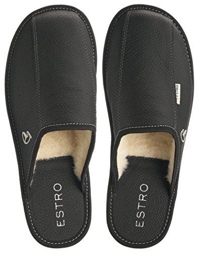 Estro Mens Slippers Men House Shoes Leather Home Mule Men's Slipper Memory Sole Frost Black W/Wool xYQ817
