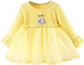 Jimmackey Neonata Bambine Pizzo Netto Filato Vestito Patchwork Manica Lunga Fiore Abito Principessa Dress