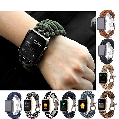 For iWatch Apple Watch 42mm,GBSELL Nylon Rope Survival Bracelet Watch Band Casual Sport (Rope Apple)