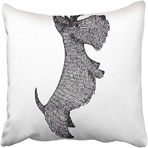 Throw Pillow Cover Square 18x18 Inches Black Dog Scottish Terrier Hand Drawing Object Black Cute Animal Artistic Dog Breed Canine Cartoon Polyester Decor Hidden Zipper Print On Pillowcases by Starogs