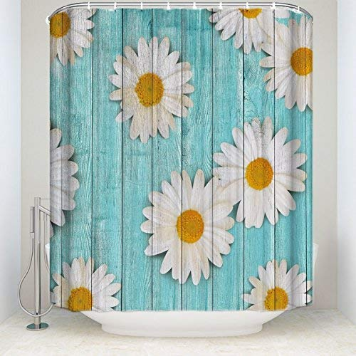 Daisy Rustic Country Wood Farm Style Fabric Shower Curtains for Bathroom, Mildew Resistant Waterproof, Extra Long 72x84inch Extra Long