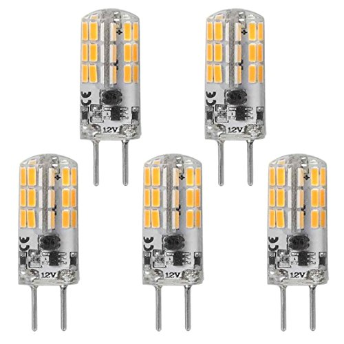 GY6.35 G6.35 Bi-pin Base LED Bulb 4Watt AC DC 12V Silica Gel Crystal Warm White 2700k-3000K Landscape Lighting,JC Type, Equivalent 25W- 30W Q35/CL/T4 Halogen Bulbs (5-Pack)