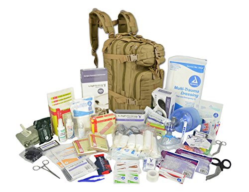 - Lightning X Stocked EMS/EMT Trauma & Bleeding First Aid Responder Medical Backpack + Kit - TAN