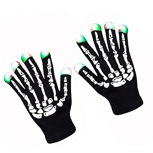 ZPTONE LED Gloves Skeleton Gloves 3 Color 6 Mode Flashing Finger Lights Halloween Costume Party Favors Light Up Toys Novelty Christmas Gift