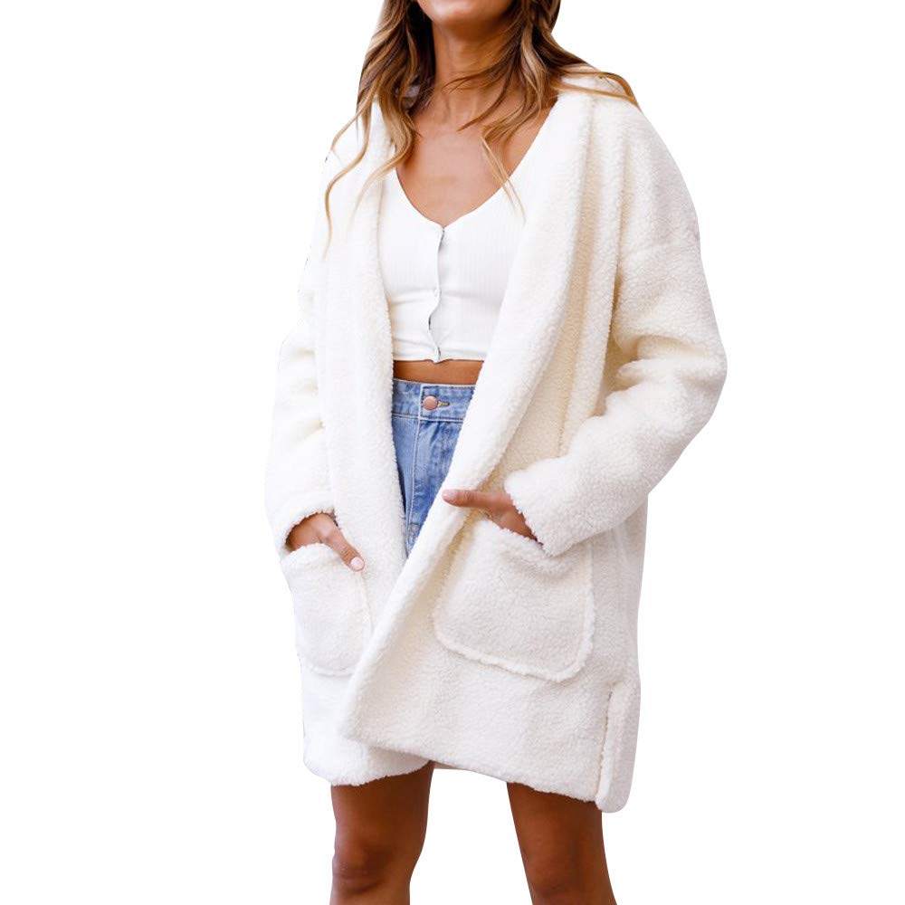 Gallity Thick Warm Jacket Hoodied Women,Women's Long Sleeve Shaggy Faux Fur Oversized Coat Parka Outwear with Pockets (2XL, White)