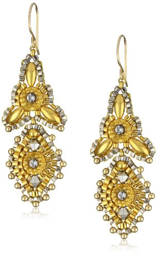 Miguel Ases Gold Beaded 14K Gold Filled Mini 3-Point Drop Earrings - Miguel Ases Beaded Earrings