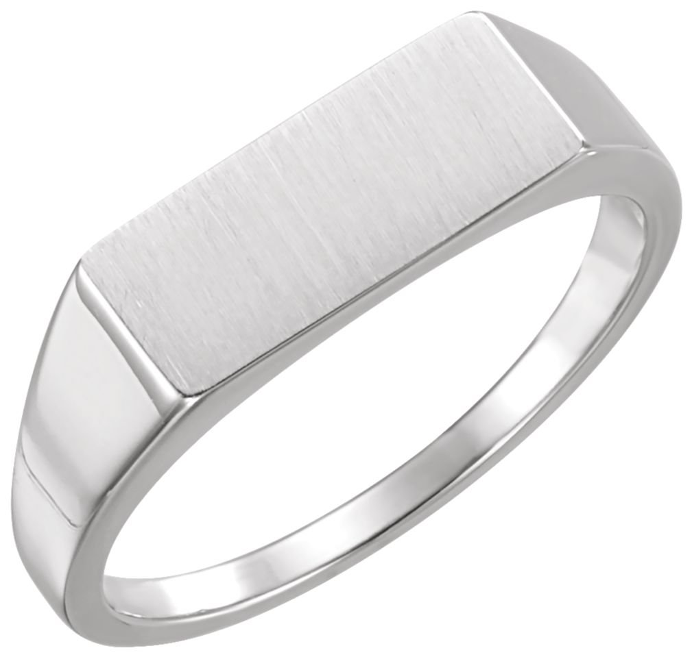 Men's Brushed Rectangle Signet Ring, Rhodium-Plated 14k White Gold (7x15 MM) Size 12.75