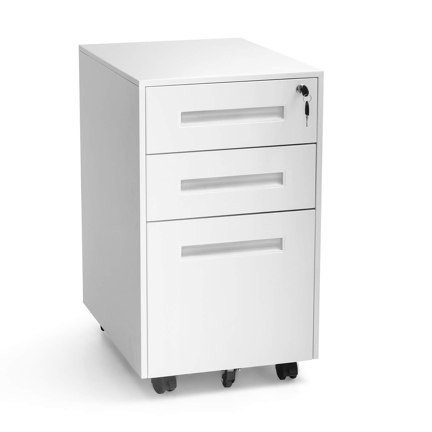INTERGREAT Mobility Cabinet for Closet/Office, Rolling Filing Cabinet 3 Drawers Fully Assembled White B