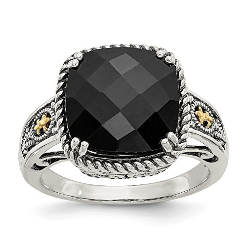(Mia Diamonds 925 Sterling Silver and 14k Yellow Gold Onyx Ring)