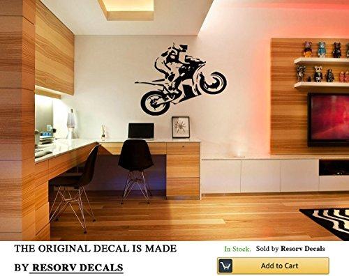 (Wall Window Decal Sticker Super Fast Cross Bike with Racer Childroom Teen Room Bedroom Guestroom TT4306)