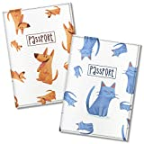 Couple Passport Covers for women and men, by Govinda Crafts, Eco Leather Passport Holder, Set of 2 (Cat & Dog)