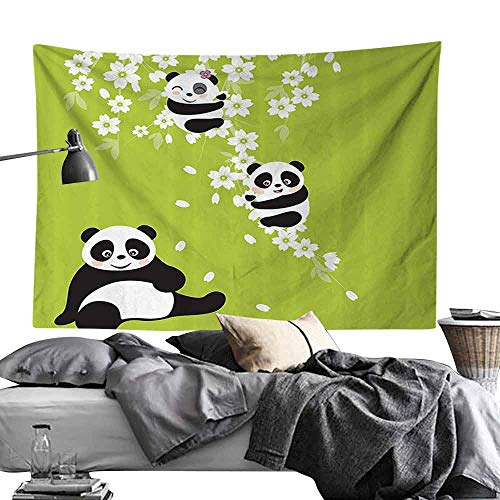 Bedroom Tapestry Animal Decor Collection Baby Panda Bears in a Cherry Bloom Tree Branches with Mom Under The Tree Cartoon Hippie Tapestry W93 x L70 Green Black White
