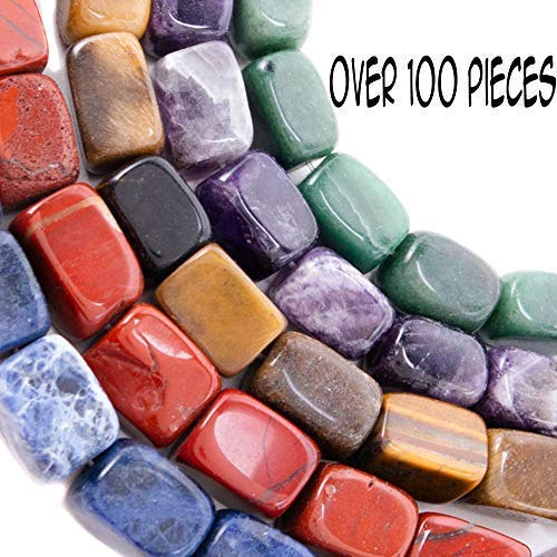Over 100 Semi Precious Natural Stones for Jewelry Making - Organized in 5 Strands - 21 to 22 Beads per Strand - Green Agate, Amethyst, Tiger Eye, Sodalite, Red Jasper for Healing, Gifts, Crafts