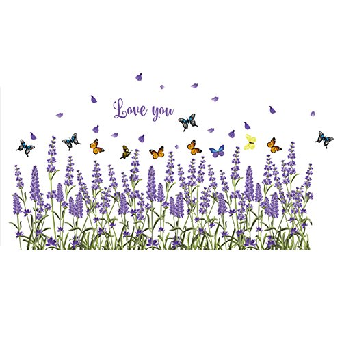 - Winhappyhome Lavender Baseboard Skirting Corner Line Wall Art Stickers Removable Decor Decals for Bedroom Living Room Entrance Nursery TV Background