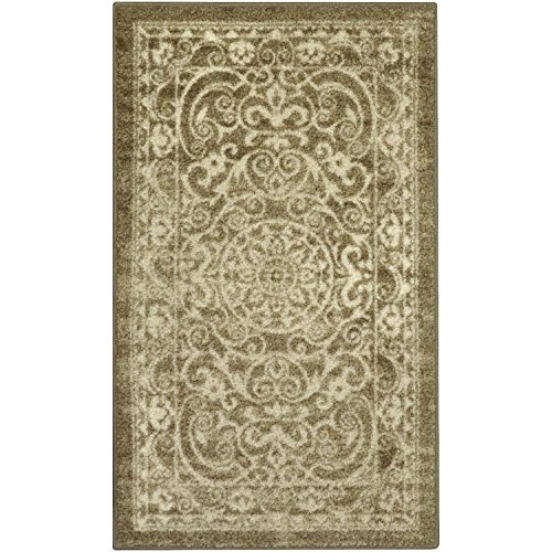 Kitchen Rugs, Maples Rugs [Made in USA][Pelham] 2'6 x 3'10 Non Slip Padded Small Area Rugs for Living Room, Bedroom, and Entryway - Khaki (Washable Throw Rugs)