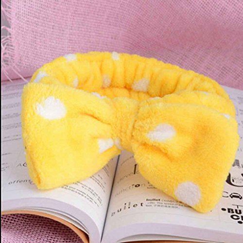 Lovely Big Bow Dot Striped Soft Shower Hair Band Wrap Headband Bath Spa Make Up