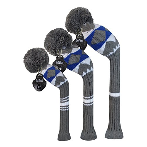 Scott Edward Grey Blue White Alien Planet Pattern Golf Club Pom Pom Head Cover, Set of 3, for Driver/Fairway/Hybrid, with Rotating Number Tags