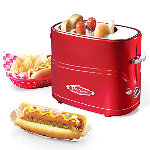 Nostalgia HDT600RETRORED Pop-Up 2 Hot Dog and Bun Toaster, With Mini Tongs, Works With Chicken, Turk - coolthings.us