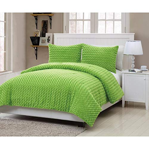 2 Piece Girls Neon Lime Green Faux Fur Theme Comforter Twin Set, Girly Pretty All Over Soft Fuzzy Bedding, Bright Vibrant Solid Color Multi Embossed Houndstooth Themed Pattern ()