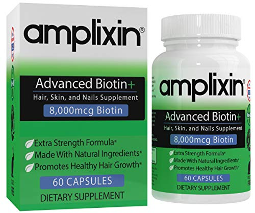 Amplixin Advanced+ Biotin Supplement - Hair Vitamins for Faster Hair Growth, Stronger Nails & Clearer Skin - Hair Loss Prevention & Nail Strengthener Product for Men & Women - 60 Capsules