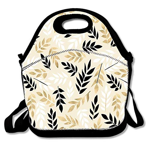 Black White & Gold Fronds Neoprene Reusable Insulated Lunch Tote Bag School Picnic Thermal Carrying Gourmet Lunchbox Container Organizer For Adults, Kids, Teens, Girls, Boys