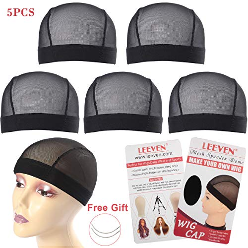Leeven 5 Pcs/lot Stretchable Nylon Net Mesh Dome Caps for Making Wigs Black Breathable Wig Cap for Women Medium Size (22