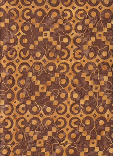 South Seas Dark Chocolate Brown Square Lace Doily Shapes on Amber Gold Batik ~ HALF YARD!!! ~ Batavian Batik #22052-225 Quilt Fabric 100% Cotton 45