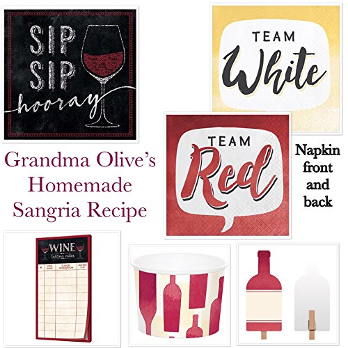 Host Your Own Perfect Wine Tasting Party Ultimate Bundle with Wine Tasting Sheets, Beverage Napkins, Food Markers, Treat Cups, Sangria Recipe (Wine Sangria Recipes)