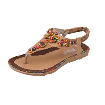 047d14ebee27 Women s Retro Sandals Ethnic Slip-on Shoes Flat Elastic Sandals Band Flip-flop  Slippers