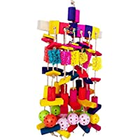SODIAL Large Parrot Chewing Toy Multicolored Wooden Blocks and Natural Loofah Heavy Duty Bite Bird Toys for African Grey Macaws and Similar Large Medium-Sized Amazon Parrots