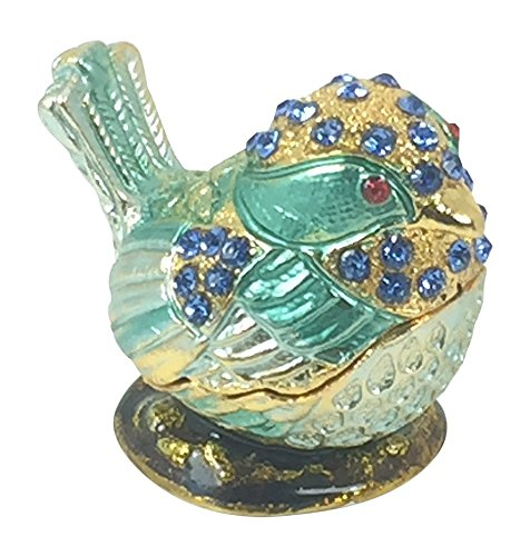 Bejeweled Mini Blue Bird Pewter Trinket / Jewelry Box by Welforth