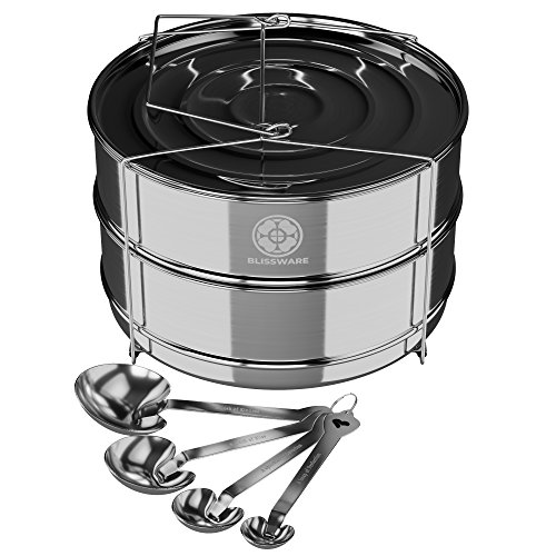 Simplify daily cooking with Blissware stackable stainless steel insert accessory – Fits 5, 6, 8 Instant Pots – Safe & built-to-last – Measuring spoons gift set Included!