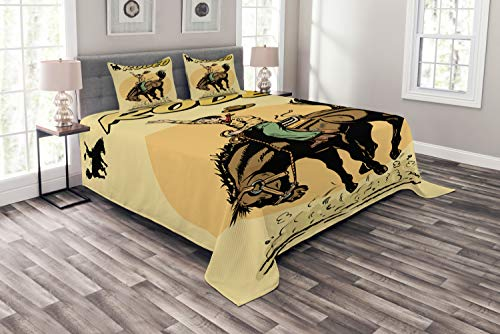 Ambesonne Retro Bedspread Set Queen Size, Old Style Art of Rodeo Cowboy Riding Horse American Wild West Artistic Work, 3 Piece Decorative Quilted Coverlet with 2 Pillow Shams, Yellow Brown Orange