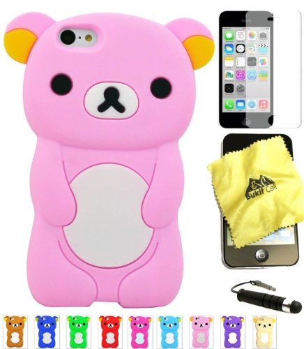 Bukit Cell ® Bundle - 4 Items: Bukit Cell ® BABY PINK 3D Teddy Bear Soft Silicone Case (Baby Pink Iphone 4 Case)