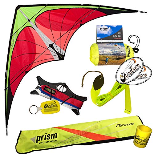 Prism Nexus Dual Line Delta Framed Stunt Kite with x2 Tail Bundle (4 Items) + Prism 20ft Nylon Tube Tail + 40ft Ripstop Streamer Tail + WindBone Kiteboarding Lifestyle Stickers + Key Fob (Yellow)