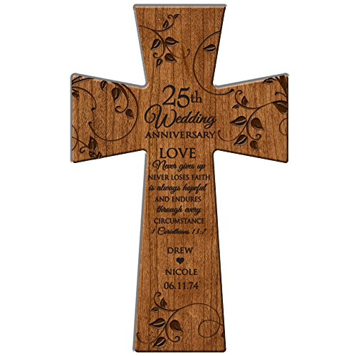(25th Wedding Personalized Wall Cross Love Never Gives Up, Never Loses Faith Made in USA of Solid Cherry Wood)