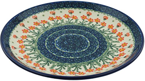 Polish Pottery Salad Plate 9-inch Peach Spring Daisy