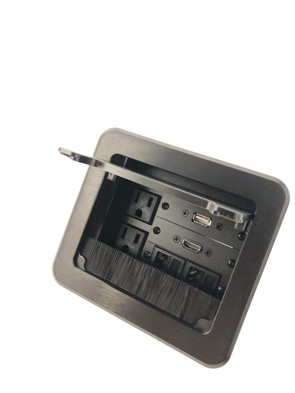 Yolkvisual Conference Table Connectivity AV Box 2 AC + 1 HDMI + 1 USB + 2 RJ45 Black by YolkVisual (Image #1)
